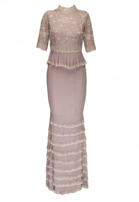 Lilac Peplum High Neck Top with Fitted Skirt and Dupatta