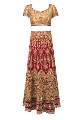 Red Embroidered Lehenga with Gold Embroidered Blouse and Dupatta with Embroidered Border and Motif