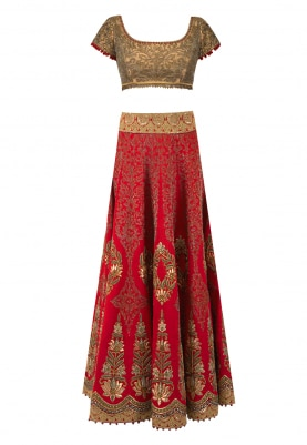 Red Embroidered Lehenga with Gold Embroidered Blouse and Banarsi Chanderi Booti Dupatta Accentuated with Embroidered Border and Tassel