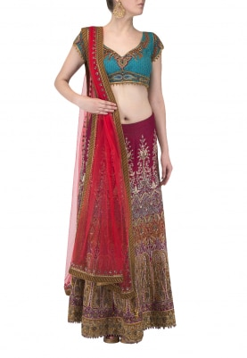 Red Hand Embroidered Lehenga with Turquoise Blue Blouse