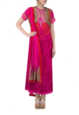 Fuschia Pink Embroidered Kurta Paired with Bolero Jacket and Dupatta