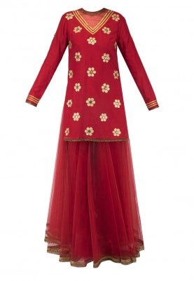 Red Embroidered Kurta with Gota Border Sharara and Tulle Stole with Metal Edging