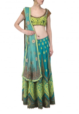 Turqoise Motif Embroidered Lehenga with Blouse and Dupatta