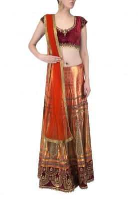 Red Embroidered Blouse with Velvet Border Lehenga and Dupatta
