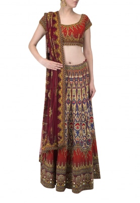 Red Embroidered Lehenga with Blouse and Bead Tassel Dupatta