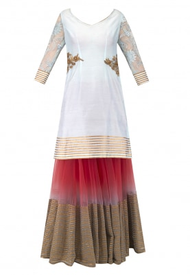 Powder Blue Kurta Embroidered Around The Waist with Gota Detailing At The Hem