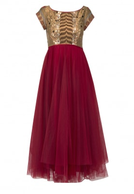 Red Embroidered Bodice with 3 Tier Tulle Flare