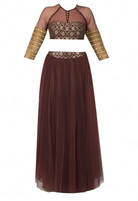 Brown Choli Style Blouse, Mirror Embellished Waist Belt and Dupatta with Gota Detailing