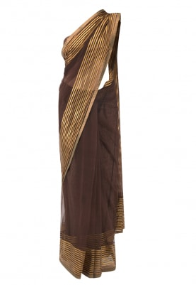 Brown Saree with Antique Brocade Bustier