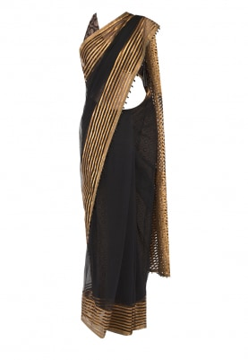 Black Saree with Brocade Blouse and Printed Silk Petticoat
