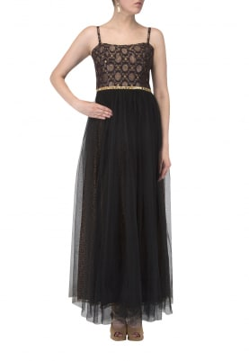 Black Brocade Bodice Dress with Antique Metal Work and Mirror Lace At Waist
