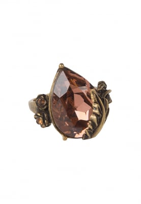 18k Gold Plated Vintage Rose and Brown Crystal Ring