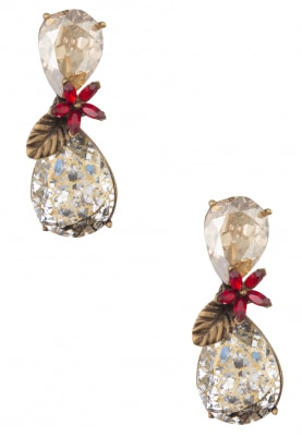 18k Gold Plated Scarlet and Swarovski Crystal Earrings
