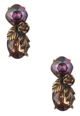 18k Gold Plated Deep Purple, Caramel and Brown Crytal Earrings