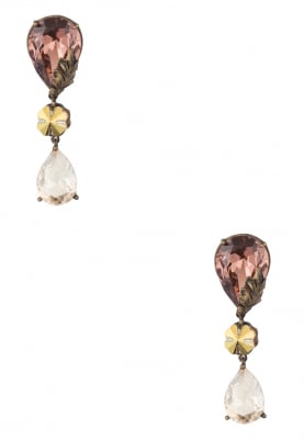 18k Gold Plated Vintage Rose Pear Shaped Crystal Earrings
