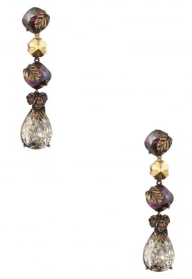 18k Gold Plated Deep Purple and Brown Crystal Earrings