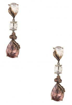 18k Gold Plated Vintage Rose and Brown Crystal Tiered Earrings