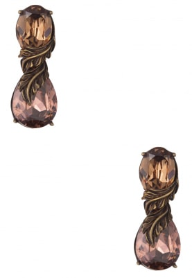 18k Gold Plated Caramel and Vintage Rose Crystal Earrings
