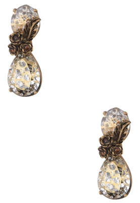 18k Gold Plated Swarovski and Gold Leaf Earrings