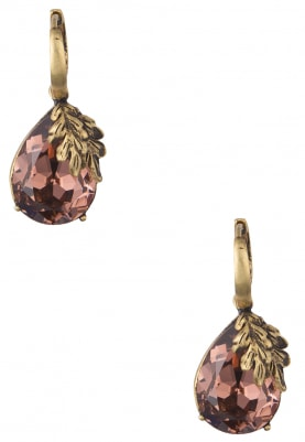 18k Gold Plated Pear Shaped Vintage Rose Stone Earrings