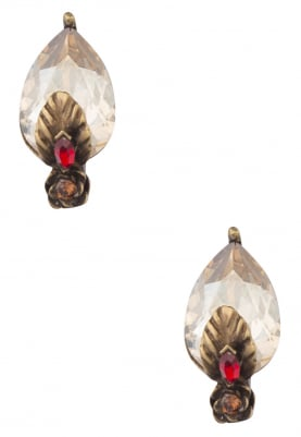 18k Gold Plated Scarlet and Brown Crystals Earrings