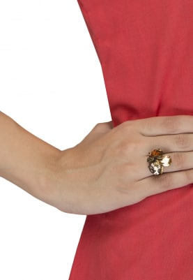 18k Gold Plated Caramel and Brown Crystal Ring