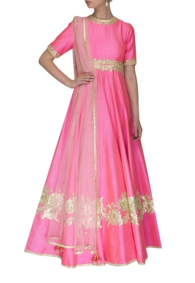 Pink Anarkali with Gota Patti Work and Dupatta with Embellishment