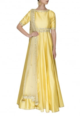 Yellow Anarkali with Gota Patti Work and Dupatta with Embellishment