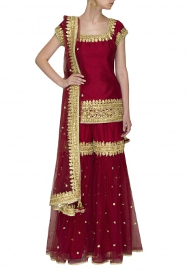 Maroon Gota Patti Embroidered Short Kurta Paired with Gharara and Dupatta