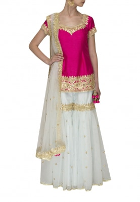 Fuschia Pink Gota Patti Embroidered Short Kurta Paired with Powder Blue Gharara and Dupatta