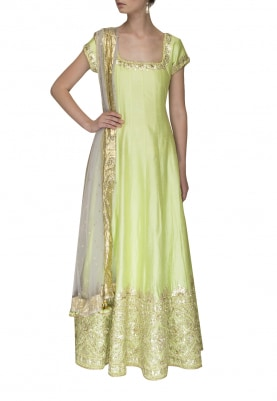 Pista Green Anarkali with Gota Patti Detailing and Sheer Net Tassel End Dupatta