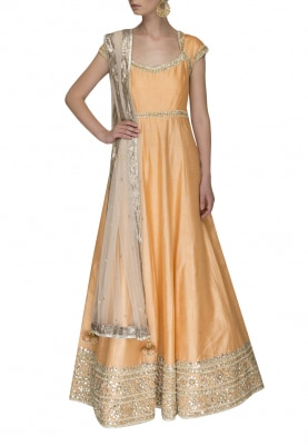 Peach Anarkali with Gota Patti Detailing and Net Tassel End Dupatta