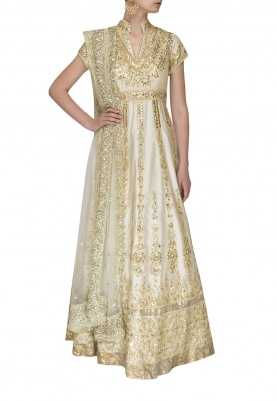 Ivory Anarkali with Gota Patti Work and Dupatta with Embellishment