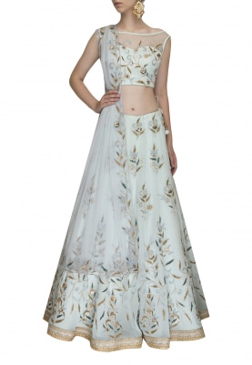Aqua Floral Embroidered Crop Top with Lehenga and Dupatta