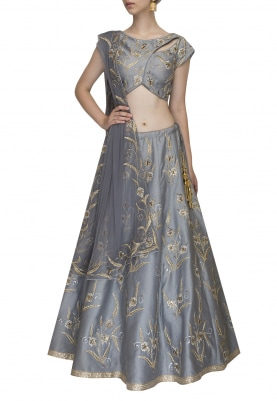Grey Embroidered Asymmetric Blouse with Flared Lehenga and Dupatta