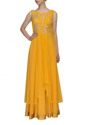 Yellow Machine and Hand Embroidered Cape Asymmetric Length Gown