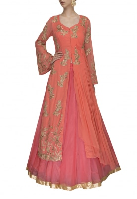 Peach Hand and Machine Embroidered Drape Jacket with Lehenga
