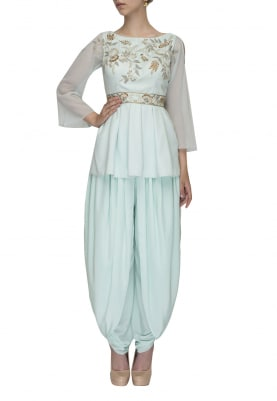 Aqua Peplum Embroidered Top with Plain Dhoti Pants