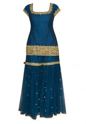 Teal Blue Gota Patti Embroidered Short Kurta Paired with Gharara and Dupatta