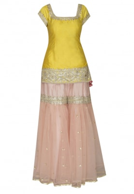 Yellow Pink Gota Patti Embroidered Short Kurta Paired with Pink Gharara and Dupatta