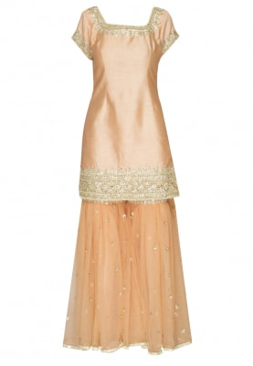 Peach Gota Patti Embroidered Short Kurta Paired with Powder Blue Gharara and Dupatta