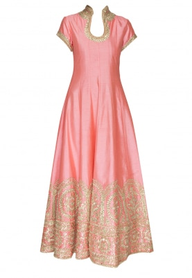 Neon Pink Stand Collar Anarkali with Gold Gota Patti Work At The Hemline Paired with Net Dupatta with Gold Border and Tassels