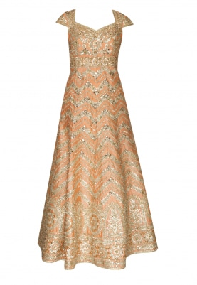 Peach Anarkali with Gota Patti Work and Dupatta with Embellishment
