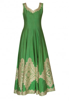 Green Gold Gota Patti Embroidered Anarkali with Embellished Dupatta