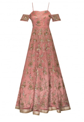 Peach Anarkali with Cold Shoulder All-Over Machine and Hand Embroidered with Floral Motif