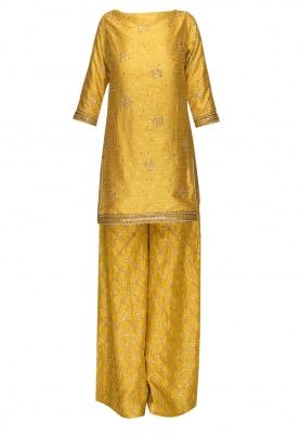 Butter Yellow Embroidered Kurta with Sharara Pants and Transparent Dupatta