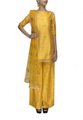 Butter Yellow Embroidered Kurta with Sharara Pants and Transparent Dupatta