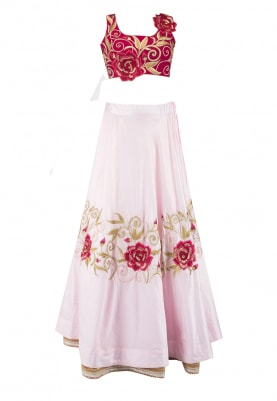 Maroon and Pink Rose Motif Embroidered Lehenga, Blouse and Dupatta