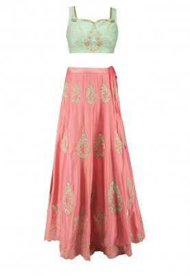 Turqoise Top and Peach Lehenga with All-Over Resham and Cutwork Embroidered with Dupatta