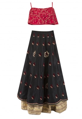 Red Crop Top with Curcular Flare and Black Double Layer Embroidered Skirt with Broad Border at Hemline